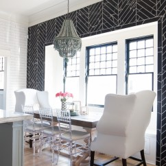 Dining Wingback Chairs Wicker Breakfast-room-black-chevron-wall-tile-white-wingback-dining-chairs-wood-table-clear-lucite ...