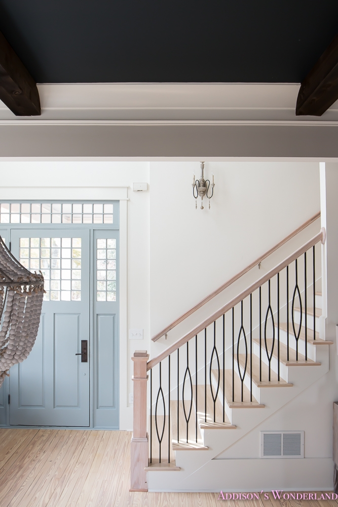 Staircase Balusters To Heaven Addison S Wonderland   White And Grey Banister   Newel Post   Narrow Awkward Staircase   Stair Railing   Entryway   Wall