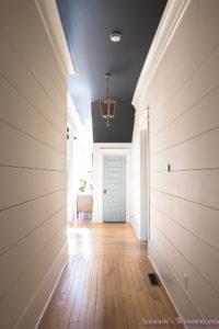 Fall Ceiling Wallpaper Design Hallway White Walls Shiplap Black Ceiling Alabaster