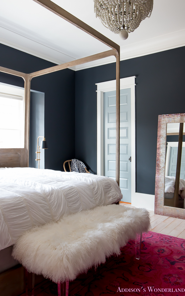 Fall Rug Wallpaper Master Bedroom Black Walls White Wood Bead Chandelier