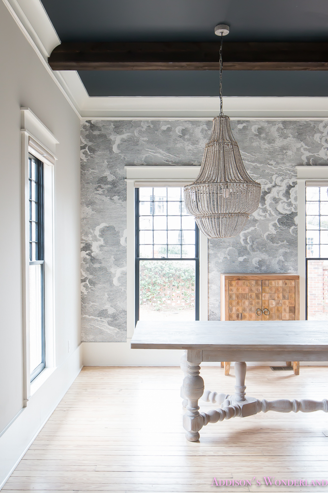 Dining Room Wallpaper Inkwell Black Ceiling Nuvolette Whitewashed Hardwood Floors Ceiling Beams