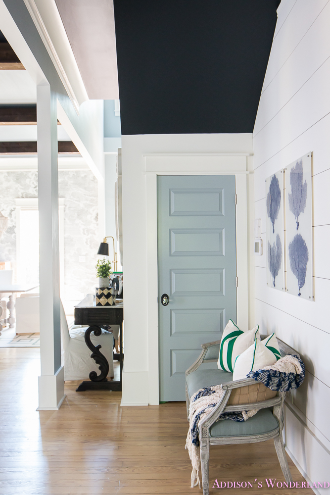 white kitchen bench light covers our new blue coral prints… - addison's wonderland