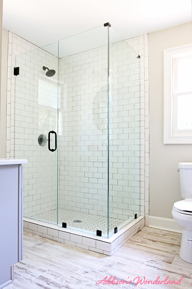 Lakehouse Bathroom Gray Cabinet White Subway Tile 5
