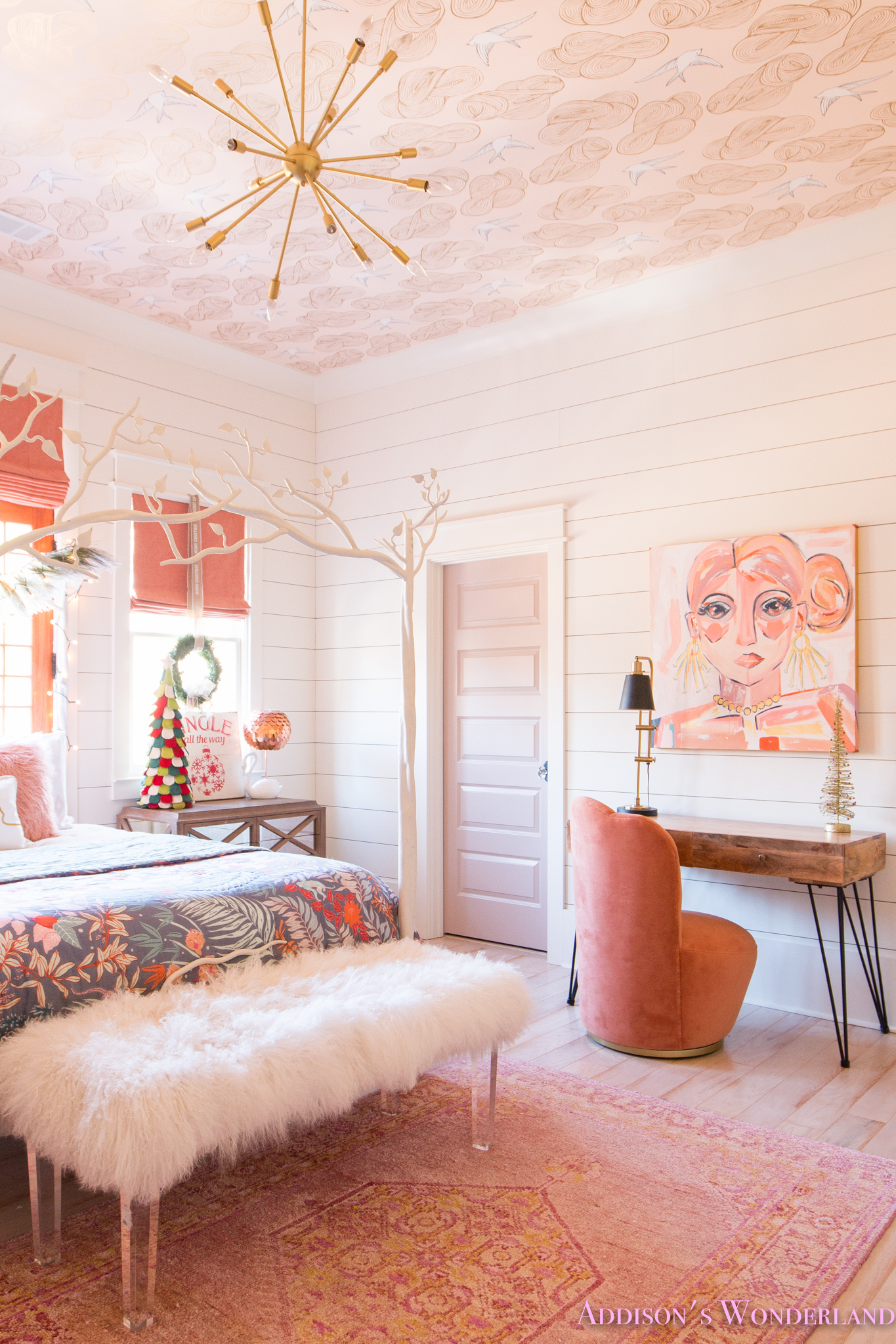 A Little Christmas Decor in Addisons Coral Girls Bedroom with Shaw Floors
