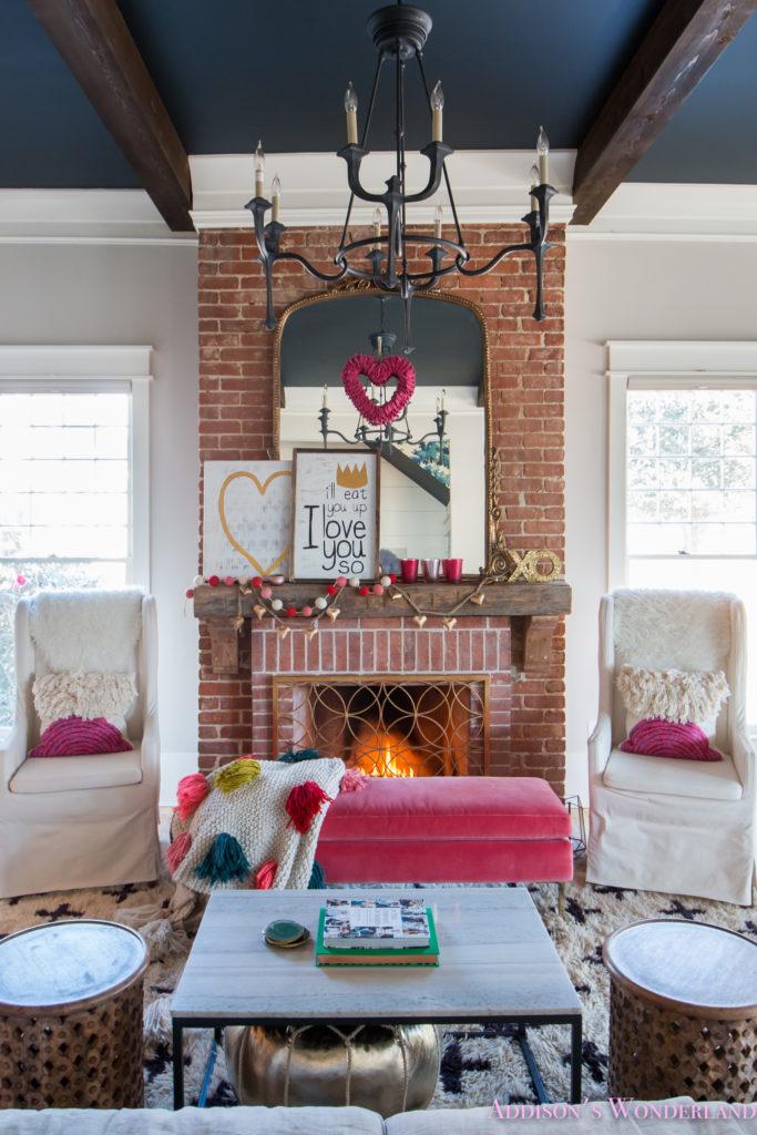 black sofa decorating ideas set images wood our colorful, whimsical & elegant valentine's day living ...