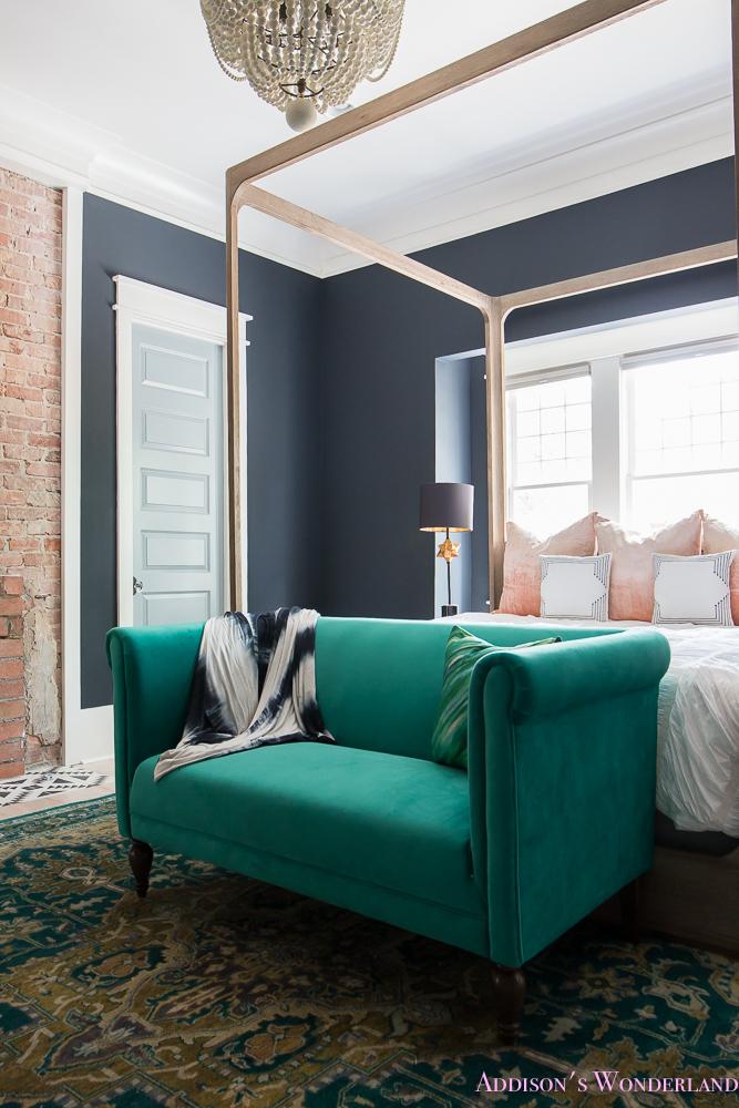 Master Bedroom Nordstrom Home Decor Beaded Chandelier Emerald Green Sear Velvet Cushion Pillows Dark Walls 7 Of 13 Addison S Wonderland