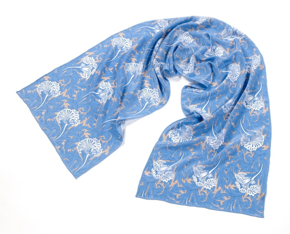 Fox and Chave Long Crepe de Chine Silk Scarf - Morris Tulips