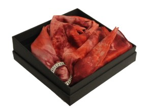 Ladycrow Silk Pongee Flat Silk Scarf with Pewter Ring in Gift Box Colour/Style Chilli