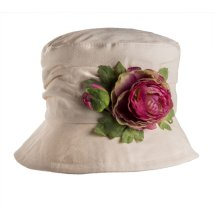 Cream Cloche Cotton Hat with Flower Trim from Proppa Toppa Colour Pink Vintage