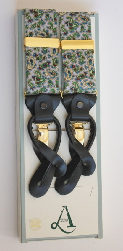 Grey Paisley Braces with Leather Tabs and Clips