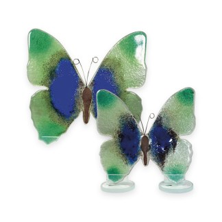 Nobile Glass Fused Glass Butterfly Blue/Green Small