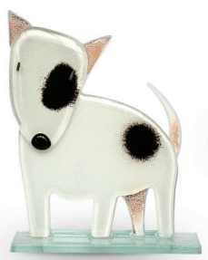 Nobile Fused Glass Bull Terrier White
