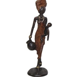 Nema with Child Small Standing Bronze Sculpture