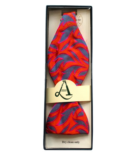 Fiery Leaves Premium Silk Bow Tie Self Tie