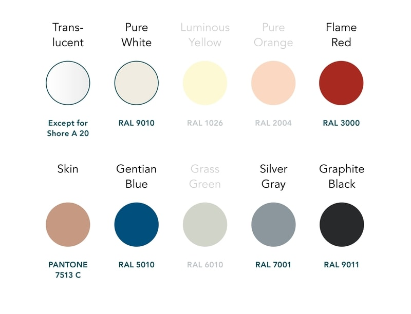 Colour Palette for Silicone 3D Printing