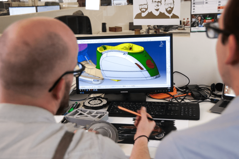 Man using CAD tools to design a product