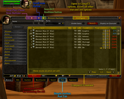 WoW Auctioneer addon Shadowlands/classic 2021