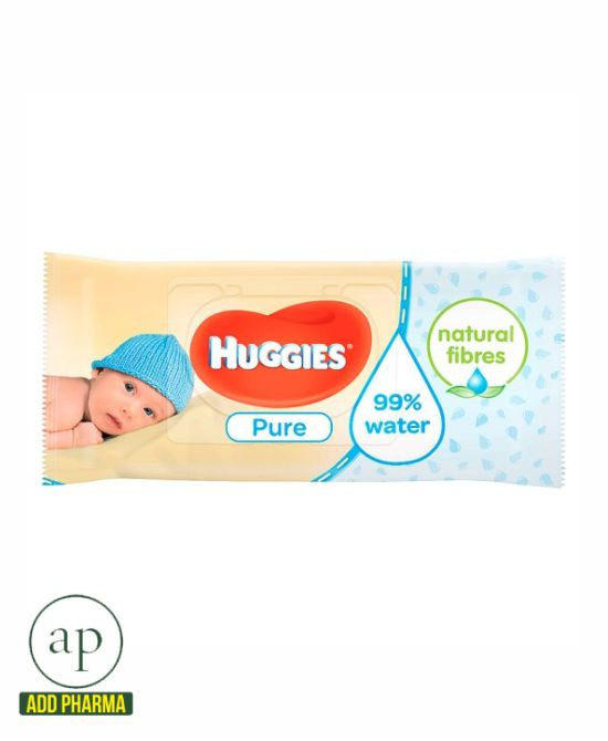Huggies Pure Baby Wipes Fragrance Free - Pack of 56 Wipes