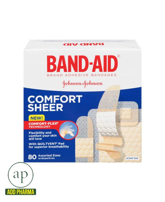 Band-Aid Sheer Comfort Plasters - 80Ct