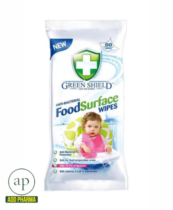 Green Shield Anti Bacterial Food Surface Wipes - Pack of 50 wipes