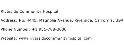 Riverside Community Hospital Address Contact Number of ...
