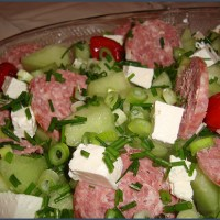 Melon and salami salad