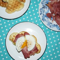 Baby marrow waffles with bacon and poached eggs