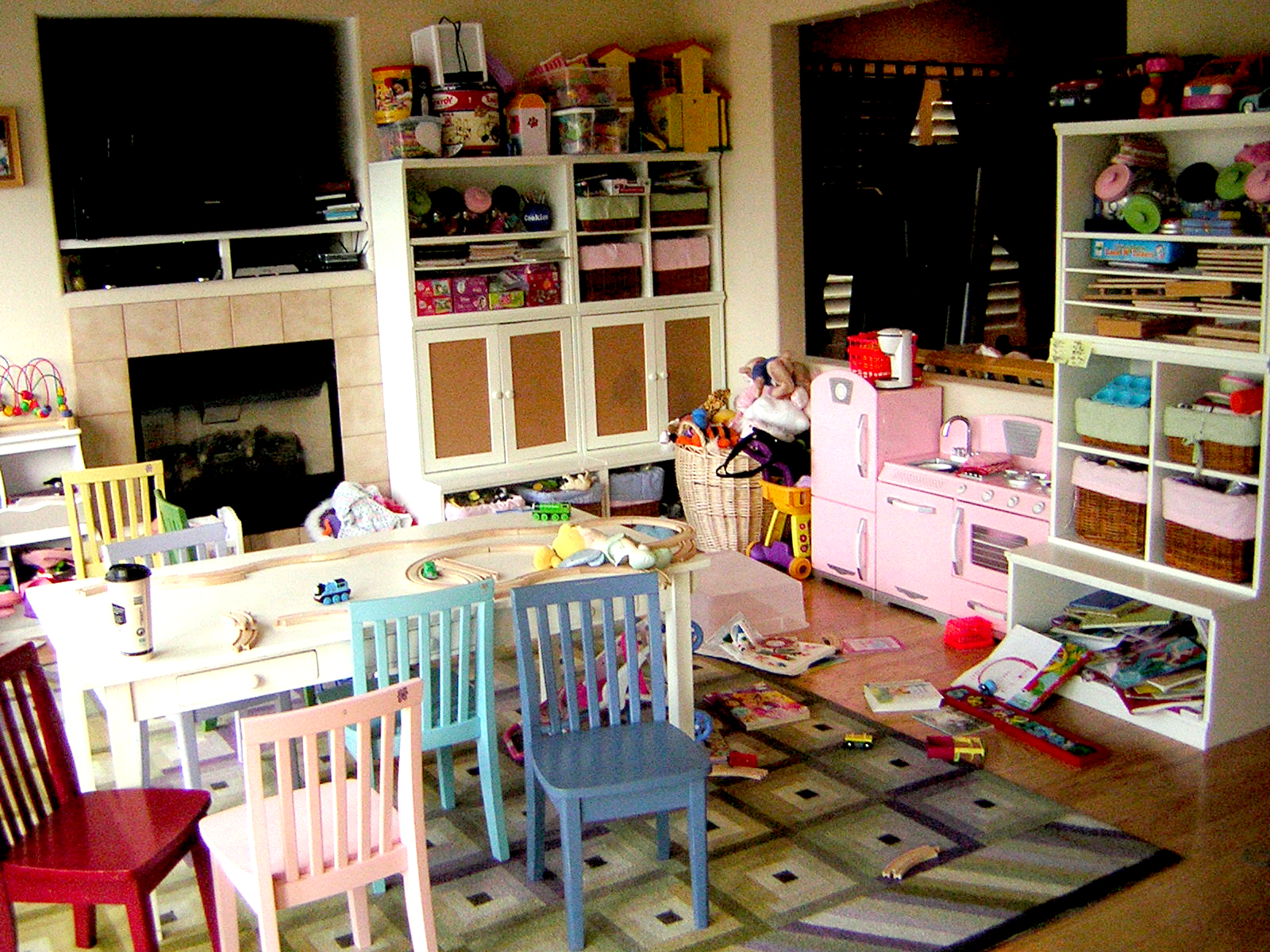 A dining room transformed into a kids playroom