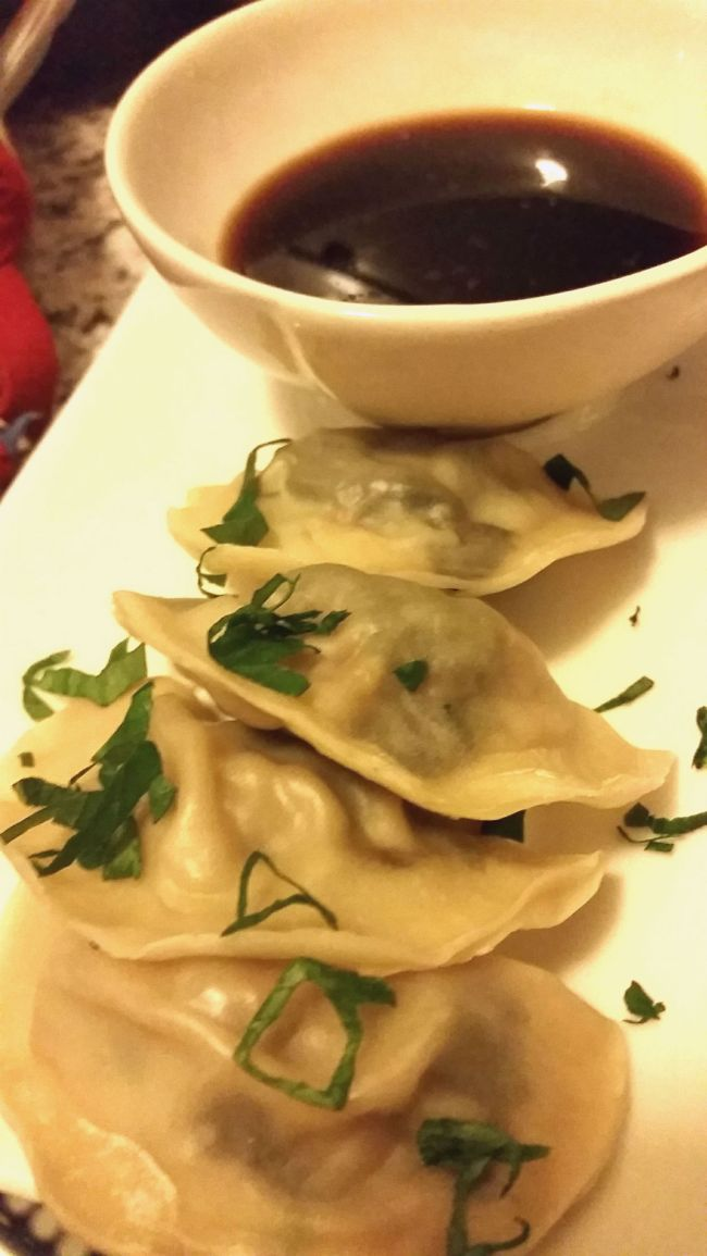 Beef mince and spinach dumplings