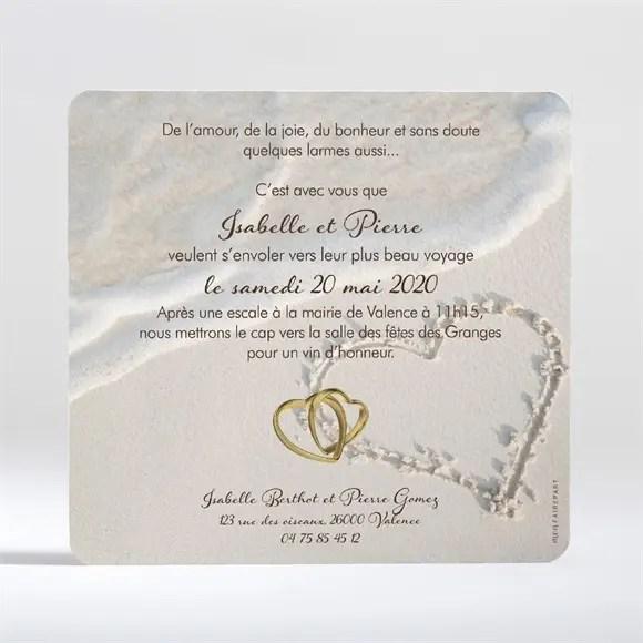 faire part mariage dans le sable