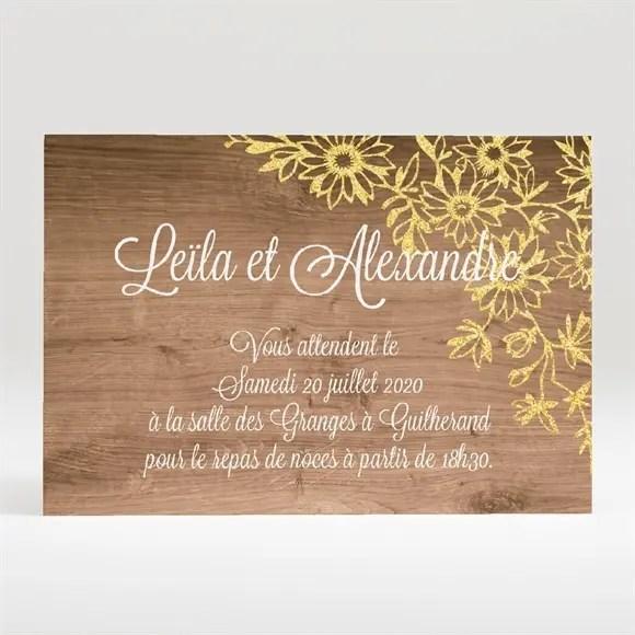 carton d invitation mariage fond en bois