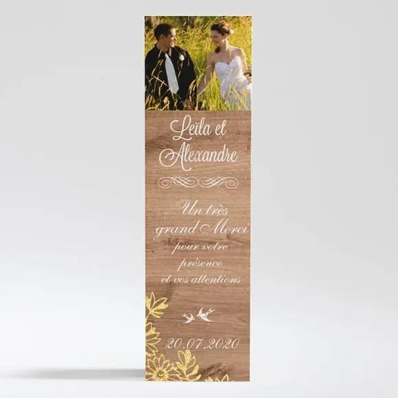 remerciement mariage fond en bois
