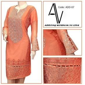 PEACH CHIFFON Fabric: P.K Chiffon Price: 3695.00 PKR 37$ Sizes: S,M,L,XL