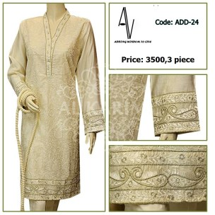 Fabric: lawn / shinny cotton net Sizes: Small - Medium - Large Details: kacha tanka embroidery work on shirt front and back. exclusive zari style embroidery work on shirt daman, sleeves cuff and neckline.