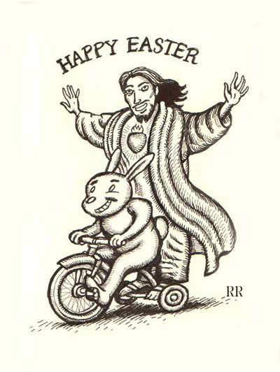 Jesus riding on bike with Easter Bunny