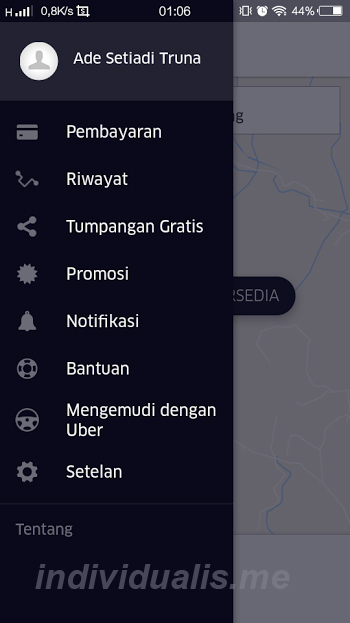 menu UBER di Android