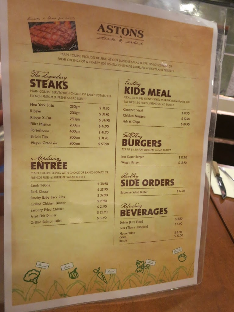 Aston's Buffet Menu