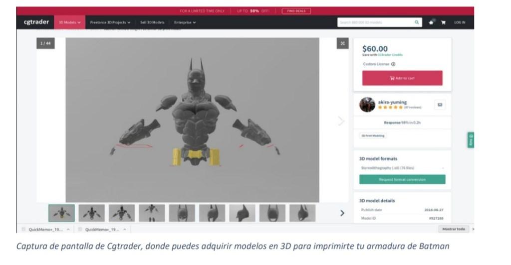 Modelos 3D de las piezas de la armadura de batman