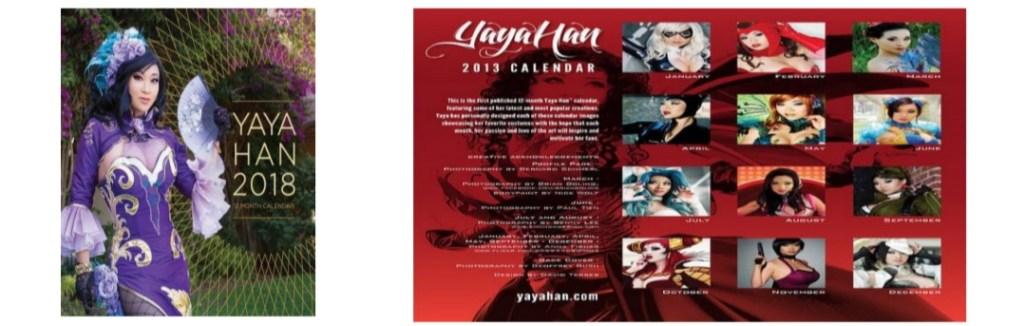 Portada frontal y trasera de calendario de la cosplayer Yaya Han