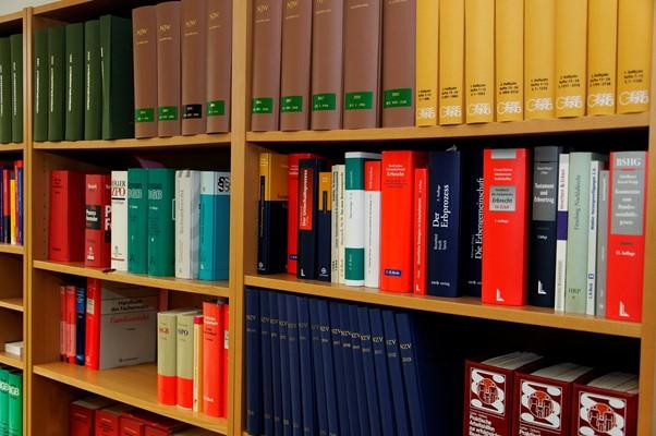 Imagen estantería con libros de derecho