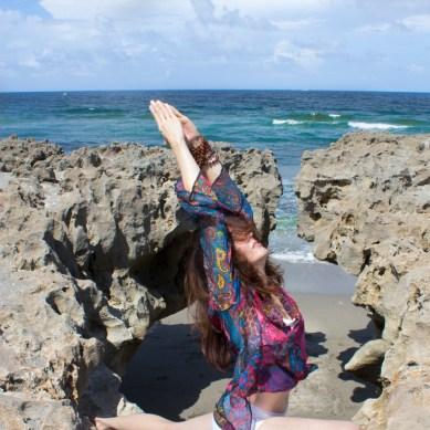 Joy Wolfe, Yoga, Prananda, Warrior I, Blowing Rocks, Jupiter, FL