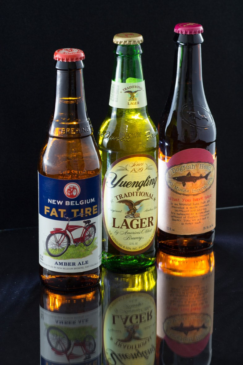 New Belgium Fat Tire, Yuengling Traditional Lager, Dogfish Head 90 Minute IPA, Vegan Beer