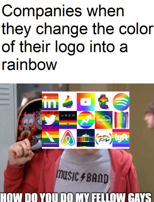 pride month companies changing their logo to a rainbow meme