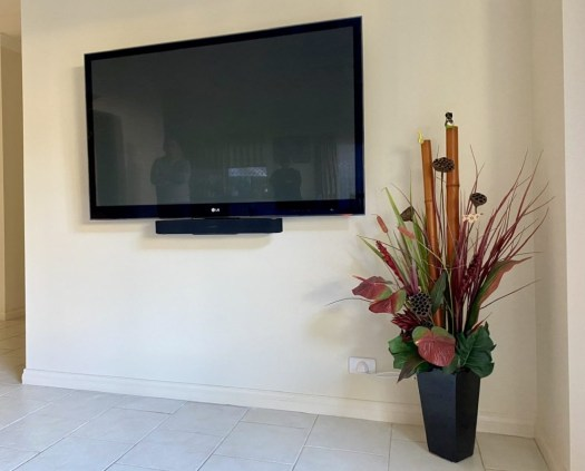 A big TV mounted and all cables concealed, Mawson Lakes