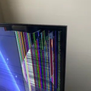 Cracked TV screen