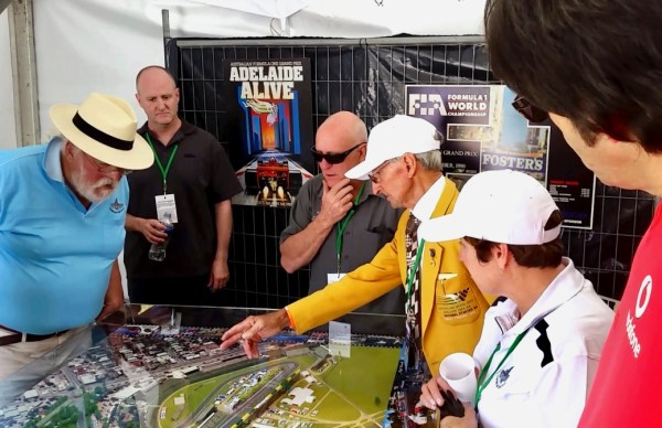 Glen Dix with the Adelaide Grand Prix circuit model at the 2016 Adelaide Motorsport Festival.