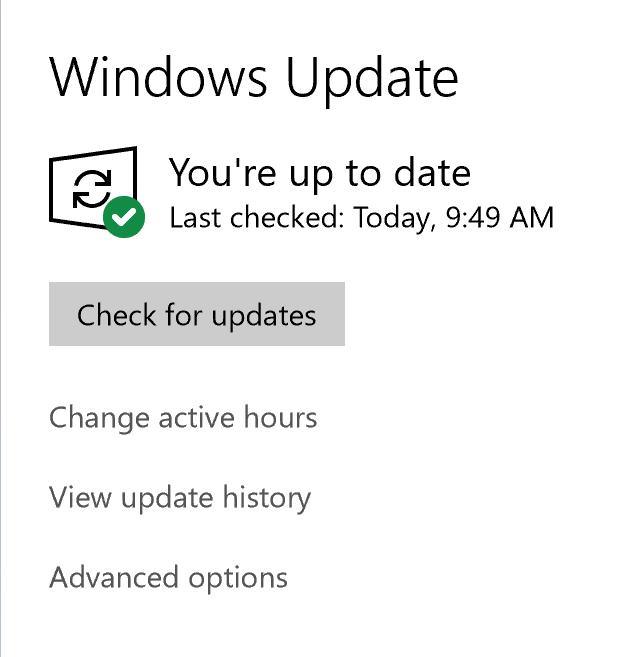 Windows update opening