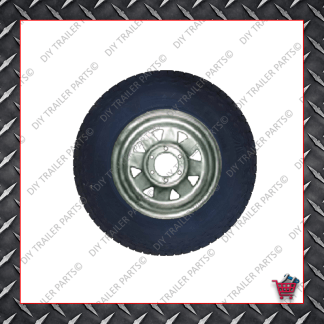 "16"" Landcruiser 6 Stud Trailer Rim & Tyre - 245R16O/R - Galvanised"
