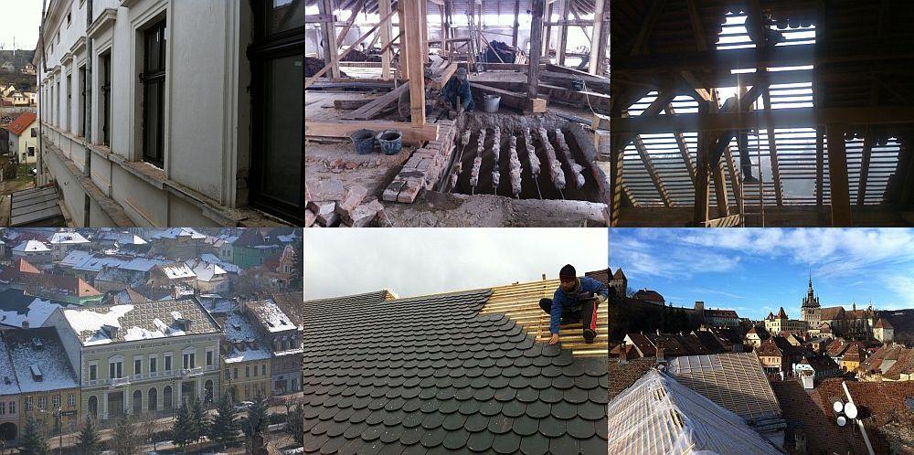 Etape din timpul lucrarilor de renovare si restaurare care au durat 4 ani de zile