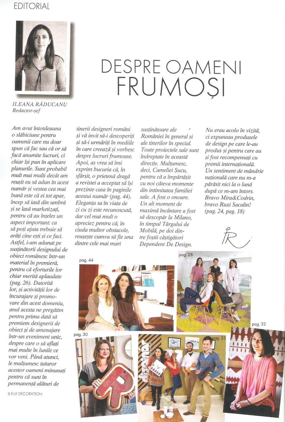 Editorialul semnat de Ileana Răducanu în numărul 50 al revistei Elle Decoration